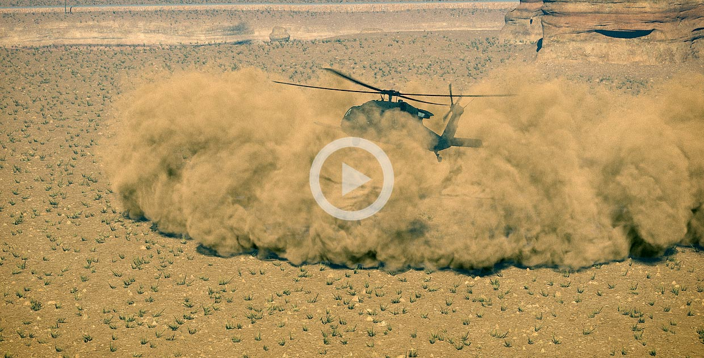 FumeFX helicopter dust landing